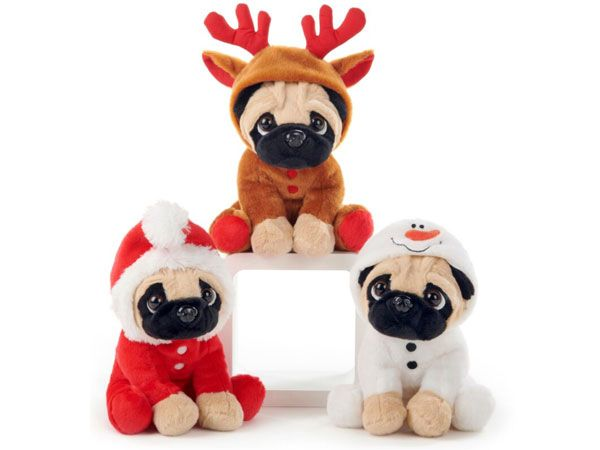 PAWS 8inch Sitting Christmas Pug - 3 Assorted